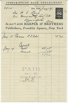 1911 Billhead New York Harper & Brothers Subscriptions Book Department Publisher