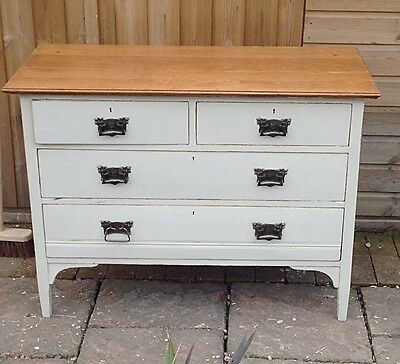 Antique Edwardian Chest Of 4 Drawers Solid Oak Painted Shabby Chic.very Heavy.