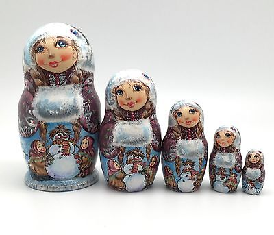 Russian Nesting Winter Dolls 5 piece set Hand Carved Hand Painted