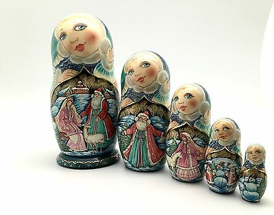 Russian Christmas Nesting Doll Hand Painted Signed
