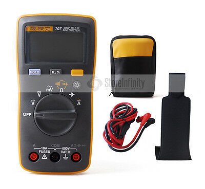 Fluke 107 Handheld Digital Multimeter+Magnetic Pendant+Soft Case Bag Holster