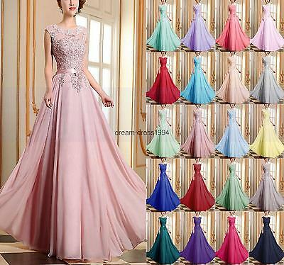 New Chiffon Lace Evening Formal Party Ball Gown Prom Bridesmaid Dress Size 6~18