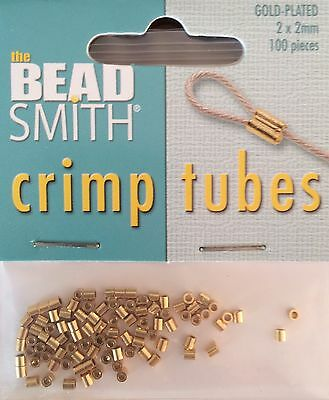 Beadsmith Gold Plated 2x2mm Tube Crimp Pack 100 pcs