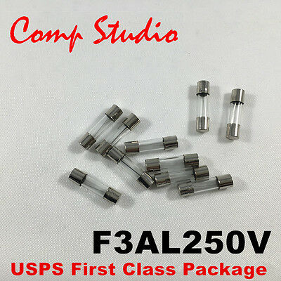 10pcs F3AL250V 3A 250V Fast Blow Fuse Glass Fuse 5x20mm US Seller