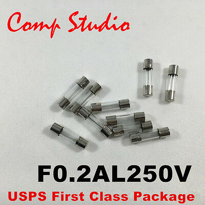10pcs/lot 0.2A 250V Fast Blow Fuse Glass Tube Fuse 5mmx20mm F0.2AL250V