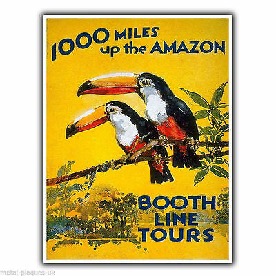 AMAZON TOURS Vintage Retro Travel Advert METAL WALL SIGN PLAQUE poster print