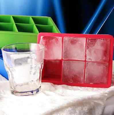 Silicone 6-Cavity Ice Cube Tray Freeze Mould Pudding Jelly Ice Maker Large Mold