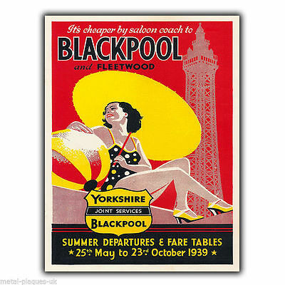 BLACKPOOL Vintage Retro Travel Advert METAL WALL SIGN PLAQUE poster print