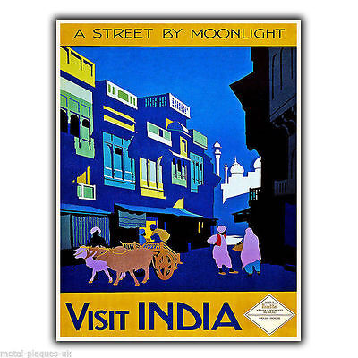 VISIT INDIA Vintage Retro Travel Advert METAL WALL SIGN PLAQUE poster print