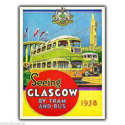 GLASGOW TRAM Vintage Retro Travel Advert METAL WALL SIGN PLAQUE poster print