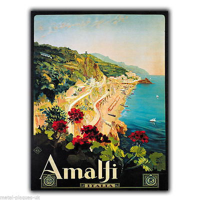 SIGN METAL WALL PLAQUE AMALFI ITALIA COAST Retro Vintage poster advert print
