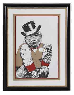 Large Print Monkey in Top Hat Huge Signed Numbered Limited Edition Framed Art