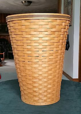 """2007 Longaberger Tour With Me Banker's Waste Basket- 22"""" Tall"""
