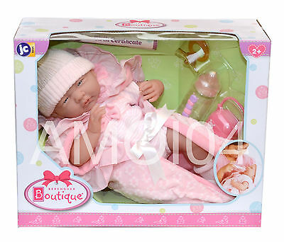 """Berenguer Boutique 15.5"""" inch Baby Doll Birth Certificate, Pacifier, Bottle *New"""