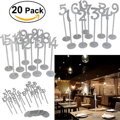 20pcs 1 to 20 Wooden Wood Table Numbers with Holder Base Wedding Silver