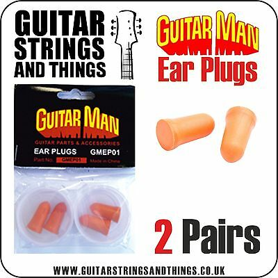 Guitar Man GMEP01 Standard Ear Plugs, Re-useable, Two Pairs in a Pack,