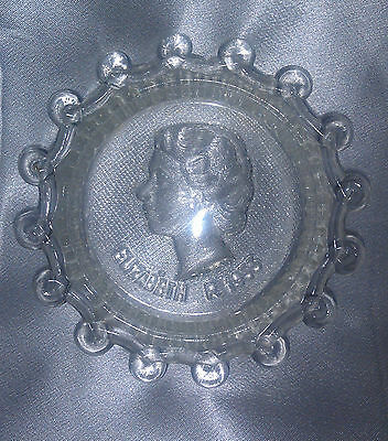 Queen Elizabeth QEII ornate glass pin dish scrollwork edge & contrasting base