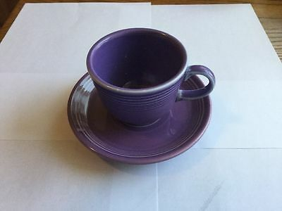 FIESTA WARE PURPLE LILAC TEA CUP AND SAUCER Homer Laughlin- DISCONTINUED