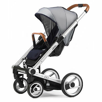 Mutsy Evo Urban Nomad Stroller -  White Blue  with Silver Chassis