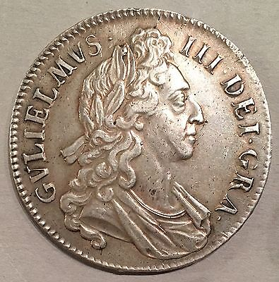 William III SILVER CROWN 1695 Septimo Cinquefoil Stops On Edge GVF Spink 3470