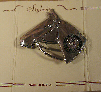 Vintage Pin Rhode Island State Seal Horse Brooch USA Made Original Card Souvenir