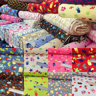 printed cuddle fleece FUR fabric, bear, butterfly fishes,jigsaw 150cm wide