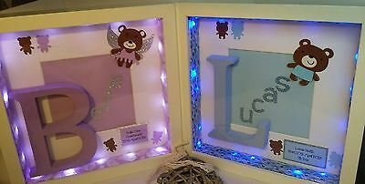 Personalised box picture frame christening gifts new baby boy girl present
