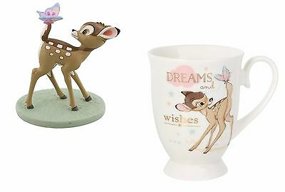 Disney Magical Moments Bambi & Butterfly Figurine & Bambi Dreams & Wishes Mug