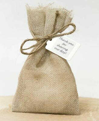 Shabby Chic 1-100 Rustic Hessian Vintage Wedding Favour Bags Personalised