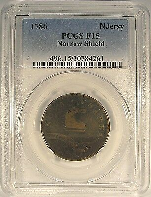 1786 COLONIAL COPPER NEW JERSEY PCGS F15 Narrow Shield