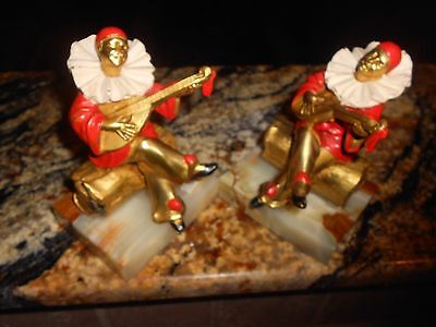 Art Deco Onyx Vintage Brass Book Ends _Musician_Clown_Jester_ on Log Red & Gold
