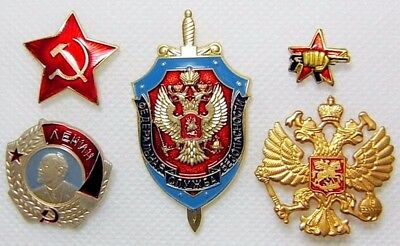 Russian Military Metal Pin Badges - FSB,Red Star,AK47,Lenin,Imperial Eagle, New