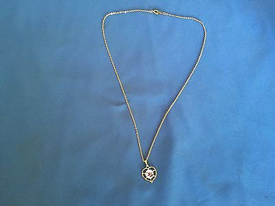 Stunning Vintage Estate Find Korea Signed Goldtone Small Heart Pendant Necklace