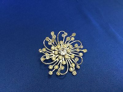 Stunning Vintage Estate Find Twisted Silvertone Sparkling Stone Brooch Pin A3
