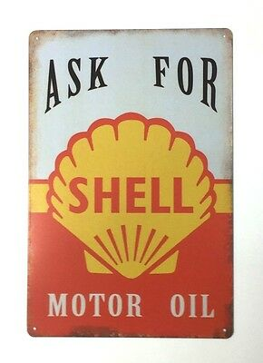 Tin Metal Wall Sign Plaque Vintage Retro Shell Oil,  20 x 30cm