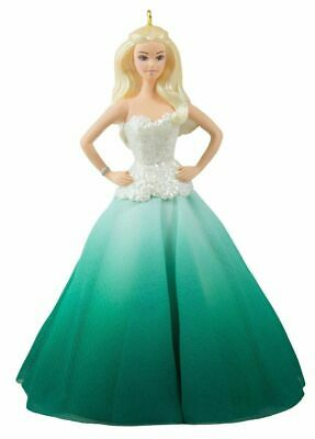 Holiday Barbie 2016 Hallmark Christmas Doll Ornament 2nd in Series Green Formal
