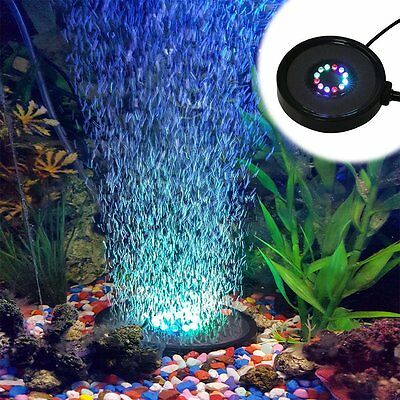 Fish Tank Led Air Curtain Airstone Bubble Generator 12 Color Light Changing RGB