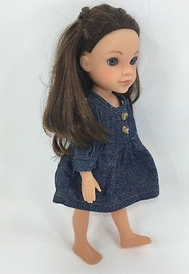 "Playmates Hearts 2 Hearts Girls 14"" Doll Dell Freckles Blue Eyes Brown Hair"
