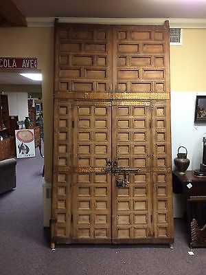Pair of Large 9' Tall Antique Nepalian Indian Old World Doors