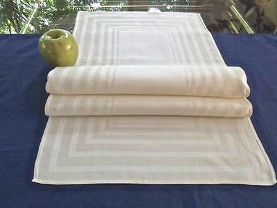 Vintage Dove-White Linen 13x36 Centerpiece Runner Damasked Geometric Stripes