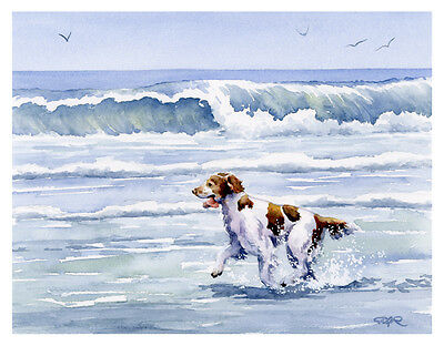 """""""Brittany Spaniel at the Beach"""" Watercolor Dog ART Print Signed by Artist DJR"""