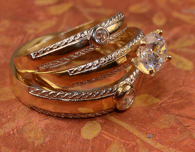 His And Hers Gold Engagement Rings And Multiple Wedding Band Set