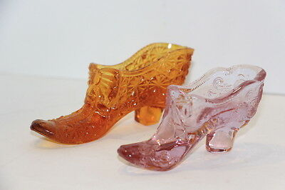 Lot of 2 Vintage Glass Slippers Boots Shoes Pink and Amber Glass