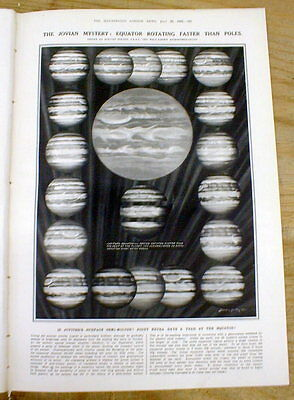 1923 illustrated newspaper Astronomy chart PLANET JUPITER drawn in great detail