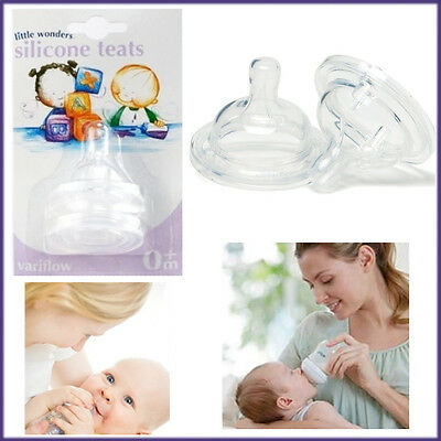 Silicone Teats Baby Nipples Flow Neck 0+ Months Natural Soft Hole Bottle Colic