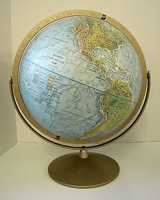 "Globe Raised Relief Replogle Land and Sea 12"" Dual Axis Metal Stand USSR Burma"