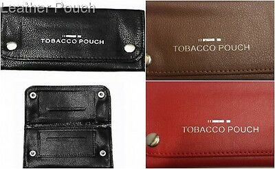 NEW SOFT Leather Tobacco Pouch FULLY LINED  SMOKING WALLET Black /Red/Brown