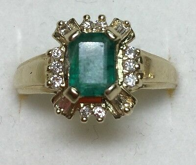 1.25 CT Natural DIAMOND & emerald Ladies RING solid 14k yellow GOLD