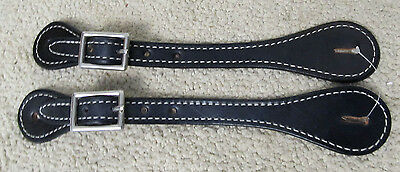 New Showman Basic Heavy Stitched Black Ladies Spur Straps New Western Tack