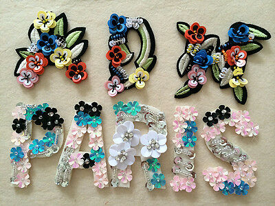 Patches Letter Paris ADM sequins clothing accessory embroidery for jeans sweater